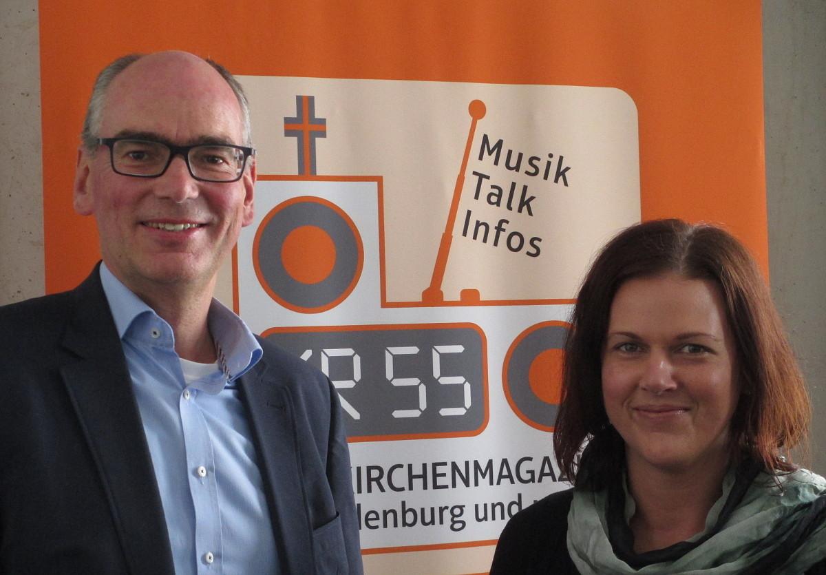 Andreas Gögel und Melanie Wichering im Studio von KR55